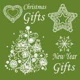 Grupo de símbolos do ano novo e do Natal Fotografia de Stock Royalty Free