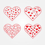 Grupo de símbolos do coração Imagem de Stock