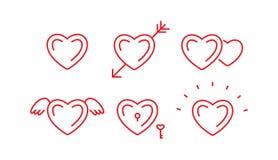 Grupo de símbolos do coração do esboço Fotografia de Stock