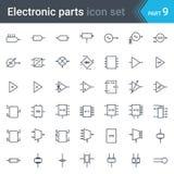 Grupo de símbolos do esquema de circuito bonde e eletrônico de circuitos, blocos, fases, amplificador, circuitos de lógica, crist ilustração royalty free