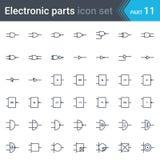 Grupo de símbolos do esquema de circuito bonde e eletrônico de eletrônica digital, sistema do ansi da porta de lógica, sistema br Fotos de Stock Royalty Free
