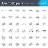 Grupo de símbolos do esquema de circuito bonde e eletrônico de resistores Fotografia de Stock Royalty Free