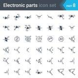 Grupo de símbolos do esquema de circuito bonde e eletrônico de tiristores, de TRIAC, de diacs e de transistor Imagens de Stock