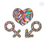 Grupo de símbolos do gênero e ilustração masculinos e fêmeas do coração Fundo colorido abstrato tirado mão do amor Foto de Stock Royalty Free