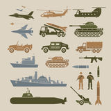 Grupo de símbolos do objeto dos veículos militares, vista lateral ilustração stock