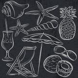 Grupo de símbolos do verão, moluscos, shell, cocktail, estrela do mar ilustração stock