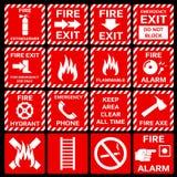 Grupo de símbolos do vetor do alarme de incêndio Fotos de Stock Royalty Free