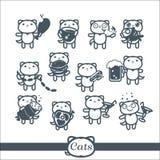 Grupo de símbolos dos ícones 12 dos gatos: fast food Fotografia de Stock Royalty Free
