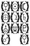 Grupo de símbolos dos planetas em fundos abstratos ilustração stock