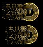Grupo de símbolos dourados do dogecoin cripto da moeda Imagens de Stock Royalty Free