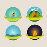 Grupo de símbolos e de ícones de acampamento do equipamento Imagens de Stock