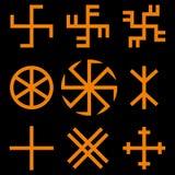 Grupo de símbolos eslavo dos amuletos Símbolos solares Imagens de Stock Royalty Free