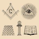 Grupo de símbolos maçônico do vetor Ícones sagrados da sociedade, emblemas da maçonaria, logotipos Coleção esotérico das ilustraç Imagem de Stock