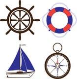 Grupo de símbolos náuticos e marinhos Imagem de Stock