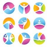 Grupo de símbolos redondos da aptidão. Fotos de Stock Royalty Free