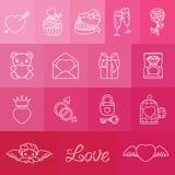 Grupo de símbolos românticos para o dia de Valentin Fotos de Stock