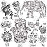 Grupo de símbolos usados no mihendi ilustração do vetor