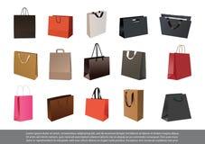 Grupo de saco de compras de papel vazio Imagem de Stock Royalty Free