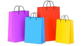 Grupo de sacos de compras vazios coloridos, ilustração 3d Fotos de Stock Royalty Free