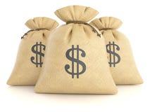 Grupo de sacos de pano com dólares fotografia de stock