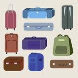 Grupo de sacos e de malas de viagem do curso ilustração stock