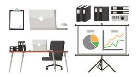 Grupo de sala de apresentação do escritório Desktop do escritório e arquivo de original Objetos da apresentação ilustração stock