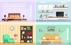 Grupo de salas coloridas da casa do design de interiores do vetor com ícones da mobília: sala de visitas, quarto Estilo liso Foto de Stock