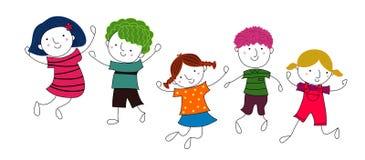 Grupo de salto de los niños Fotografía de archivo libre de regalías
