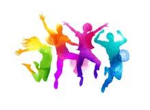Grupo de salto del Watercolour de vector de los amigos Imagenes de archivo