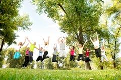 Grupo de salto dos jovens Imagem de Stock Royalty Free