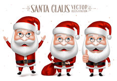 Grupo de Santa Claus Cartoon Character para o Natal ilustração stock