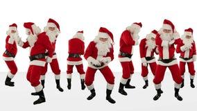 Grupo de Santa Claus Dancing Against White, fundo do feriado do Natal, Alpha Matte, metragem conservada em estoque vídeos de arquivo