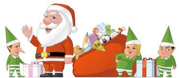 Grupo de Santa e de elfs Imagem de Stock Royalty Free