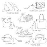 Grupo de sapatas da American National Standard dos sacos das mulheres Fotografia de Stock Royalty Free