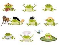 Grupo de sapos agradáveis do vetor dos desenhos animados Foto de Stock Royalty Free