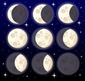 Grupo de satélite natural do objeto diferente do espaço de fases da lua da ilustração da terra isolada na site do fundo do estilo ilustração do vetor
