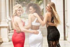 Grupo de señoras atractivas hermosas en vestidos elegantes en el summe soleado foto de archivo