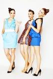 Grupo de señoras elegantes diversas en los vestidos brillantes aislados en wh Foto de archivo