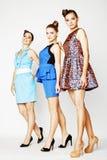 Grupo de señoras elegantes diversas en los vestidos brillantes aislados en wh Fotografía de archivo