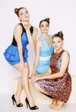 Grupo de señoras elegantes diversas en vestidos brillantes Imagenes de archivo