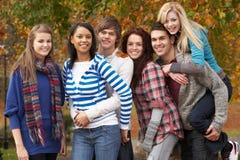 Grupo de seis amigos adolescentes que se divierten Fotos de archivo