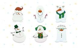 Grupo de seis bonecos de neve bonitos ilustração do vetor