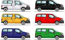 Grupo de seis carros coloridos no branco ilustração stock