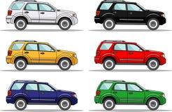 Grupo de seis carros coloridos no branco ilustração royalty free