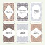 Grupo de seis cartões de casamento com quadros do vintage Imagens de Stock