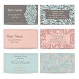 Grupo de seis cartões florais Imagens de Stock Royalty Free