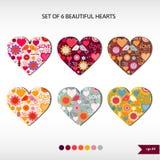 Grupo de seis corações bonitos Foto de Stock