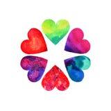 Grupo de seis corações bonitos no dia do ` s do Valentim do St imagens de stock royalty free