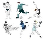 Grupo de seis esportes Imagens de Stock Royalty Free