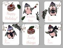 Grupo de seis etiquetas do feriado com pinguins funy ilustração royalty free